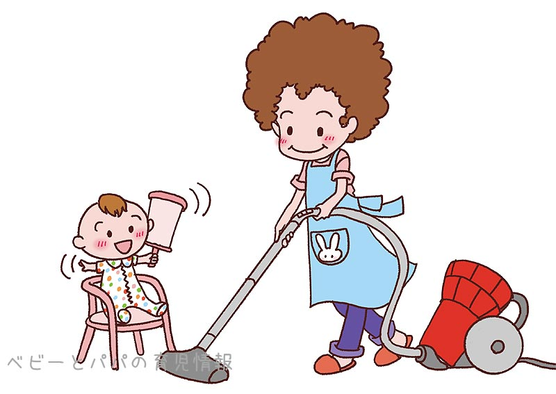 掃除機と赤ちゃん
